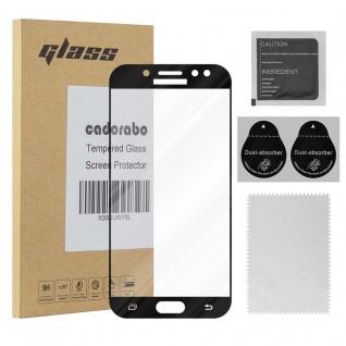Cadorabo Vollbild Panzer Folie für Samsung Galaxy J7 PRO - Schutzfolie in TRANSPARENT mit SCHWARZ - Gehärtetes (Tempered) Display-Schutzglas in 9H Härte mit 3D Touch Kompatibilität