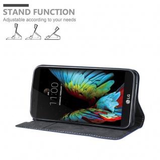 Cadorabo Hülle für LG K10 2016 in DUNKEL BLAU BRAUN - Handyhülle mit Magnetverschluss, Standfunktion und Kartenfach - Case Cover Schutzhülle Etui Tasche Book Klapp Style - Vorschau 4
