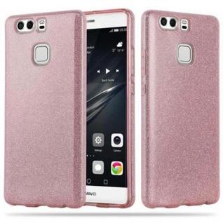 Cadorabo Hülle für Huawei P9 - Hülle in STERNENSTAUB PINK ? TPU Silikon und Hardcase Handyhülle im Glitzer Design - Hard Case TPU Silikon Schutzhülle