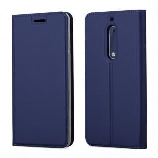 Cadorabo Hülle für Nokia 5 2017 in CLASSY DUNKEL BLAU - Handyhülle mit Magnetverschluss, Standfunktion und Kartenfach - Case Cover Schutzhülle Etui Tasche Book Klapp Style