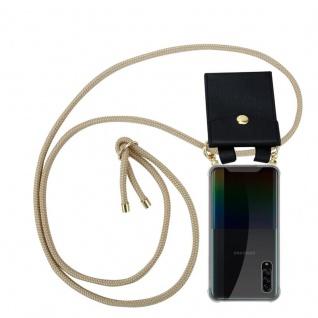 Cadorabo Handy Kette für Samsung Galaxy A90 5G in GLÄNZEND BRAUN Silikon Necklace Umhänge Hülle mit Gold Ringen, Kordel Band Schnur und abnehmbarem Etui Schutzhülle