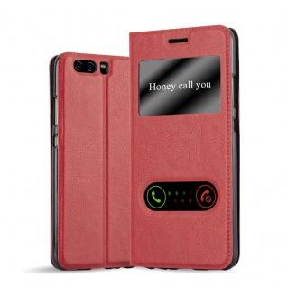 Cadorabo Hülle für Huawei P10 PLUS in SAFRAN ROT - Handyhülle mit Magnetverschluss, Standfunktion und 2 Sichtfenstern - Case Cover Schutzhülle Etui Tasche Book Klapp Style