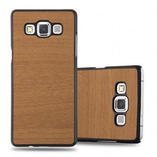 Cadorabo Hülle für Samsung Galaxy A3 2015 in WOODY BRAUN Hardcase Handyhülle aus Plastik gegen Kratzer und Stöße Schutzhülle Bumper Ultra Slim Back Case Hard Cover