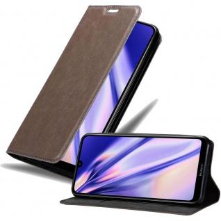 Cadorabo Hülle für Huawei Y7 2019 in KAFFEE BRAUN Handyhülle mit Magnetverschluss, Standfunktion und Kartenfach Case Cover Schutzhülle Etui Tasche Book Klapp Style