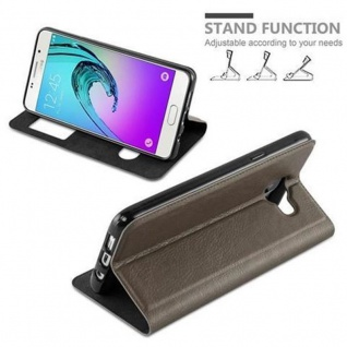 Cadorabo Hülle für Samsung Galaxy A3 2016 in STEIN BRAUN ? Handyhülle mit Magnetverschluss, Standfunktion und 2 Sichtfenstern ? Case Cover Schutzhülle Etui Tasche Book Klapp Style - Vorschau 3