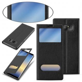 Cadorabo Hülle für Samsung Galaxy NOTE 8 in KOMETEN SCHWARZ Handyhülle mit Magnetverschluss, Standfunktion und 2 Sichtfenstern Case Cover Schutzhülle Etui Tasche Book Klapp Style - Vorschau 3