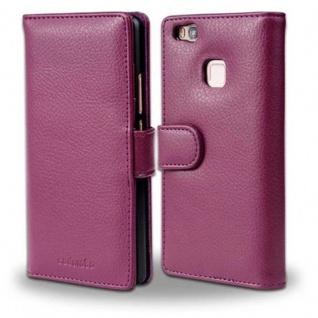 Cadorabo Hülle für Huawei P9 LITE in BORDEAUX LILA - Handyhülle mit Magnetverschluss und 3 Kartenfächern - Case Cover Schutzhülle Etui Tasche Book Klapp Style