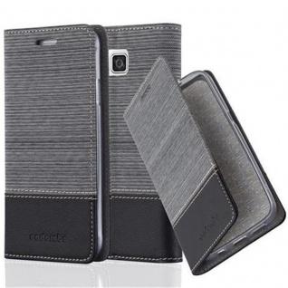 Cadorabo Hülle für Samsung Galaxy ALPHA in GRAU SCHWARZ - Handyhülle mit Magnetverschluss, Standfunktion und Kartenfach - Case Cover Schutzhülle Etui Tasche Book Klapp Style
