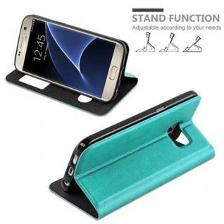 Cadorabo Hülle für Samsung Galaxy S7 in MINT TÜRKIS - Handyhülle mit Magnetverschluss, Standfunktion und 2 Sichtfenstern - Case Cover Schutzhülle Etui Tasche Book Klapp Style - Vorschau 3