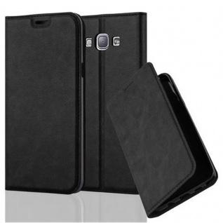Cadorabo Hülle für Samsung Galaxy A8 2015 in NACHT SCHWARZ - Handyhülle mit Magnetverschluss, Standfunktion und Kartenfach - Case Cover Schutzhülle Etui Tasche Book Klapp Style
