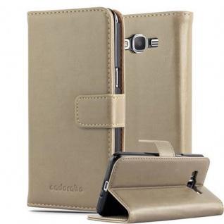 Cadorabo Hülle für Samsung Galaxy GRAND PRIME in CAPPUCCINO BRAUN ? Handyhülle mit Magnetverschluss, Standfunktion und Kartenfach ? Case Cover Schutzhülle Etui Tasche Book Klapp Style