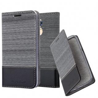 Cadorabo Hülle für Honor 6A in GRAU SCHWARZ - Handyhülle mit Magnetverschluss, Standfunktion und Kartenfach - Case Cover Schutzhülle Etui Tasche Book Klapp Style