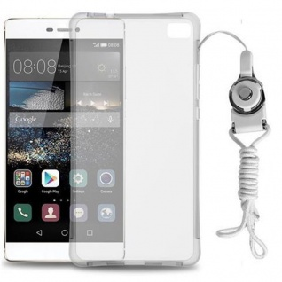 Cadorabo Hülle für Huawei P8 - Hülle in KOMPLETT TRANSPARENT - Handyhülle aus TPU Silikon mit Schlaufe im Small Waist Design - Silikonhülle Schutzhülle Ultra Slim Soft Back Cover Case Bumper