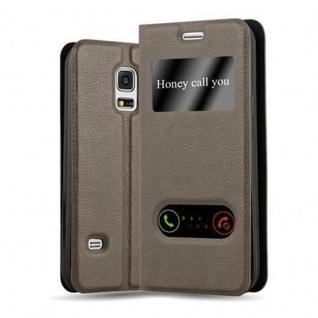 Cadorabo Hülle für Samsung Galaxy S5 MINI / S5 MINI DUOS in STEIN BRAUN - Handyhülle mit Magnetverschluss, Standfunktion und 2 Sichtfenstern - Case Cover Schutzhülle Etui Tasche Book Klapp Style