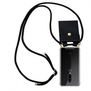 Cadorabo Handy Kette für OnePlus 7 PRO in SCHWARZ Silikon Necklace Umhänge Hülle mit Gold Ringen, Kordel Band Schnur und abnehmbarem Etui Schutzhülle