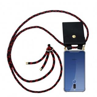 Cadorabo Handy Kette für Huawei MATE 10 LITE in SCHWARZ ROT - Silikon Necklace Umhänge Hülle mit Gold Ringen, Kordel Band Schnur und abnehmbarem Etui ? Schutzhülle