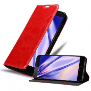 Cadorabo Hülle für MEIZU MX5 in APFEL ROT Handyhülle mit Magnetverschluss, Standfunktion und Kartenfach Case Cover Schutzhülle Etui Tasche Book Klapp Style - Vorschau 1