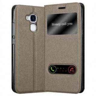Cadorabo Hülle für Honor 5C in STEIN BRAUN - Handyhülle mit Magnetverschluss, Standfunktion und 2 Sichtfenstern - Case Cover Schutzhülle Etui Tasche Book Klapp Style