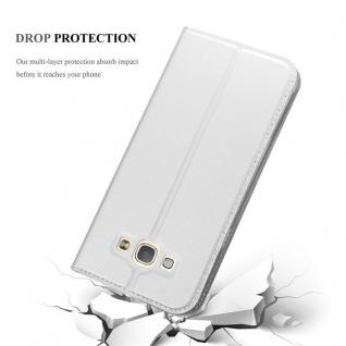 Cadorabo Hülle für Samsung Galaxy A8 2015 in CLASSY SILBER - Handyhülle mit Magnetverschluss, Standfunktion und Kartenfach - Case Cover Schutzhülle Etui Tasche Book Klapp Style - Vorschau 5