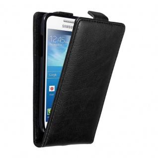 Cadorabo Hülle für Samsung Galaxy S4 MINI in NACHT SCHWARZ - Handyhülle im Flip Design mit unsichtbarem Magnetverschluss - Case Cover Schutzhülle Etui Tasche Book Klapp Style