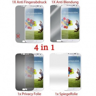 Cadorabo Displayschutzfolien für Samsung Galaxy S4 - Schutzfolien in HIGH CLEAR ? 4 Folien (1x Privacy - 1x Spiegel - 1x Matt - 1x Anti-Fingerabdruck)