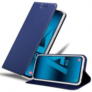 Cadorabo Hülle für Samsung Galaxy A40 in CLASSY DUNKEL BLAU - Handyhülle mit Magnetverschluss, Standfunktion und Kartenfach - Case Cover Schutzhülle Etui Tasche Book Klapp Style