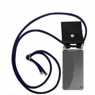 Cadorabo Handy Kette für Sony Xperia XA in TIEF BLAU Silikon Necklace Umhänge Hülle mit Silber Ringen, Kordel Band Schnur und abnehmbarem Etui Schutzhülle