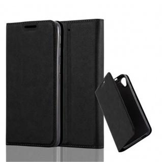 Cadorabo Hülle für HTC DESIRE 626G in NACHT SCHWARZ - Handyhülle mit Magnetverschluss, Standfunktion und Kartenfach - Case Cover Schutzhülle Etui Tasche Book Klapp Style