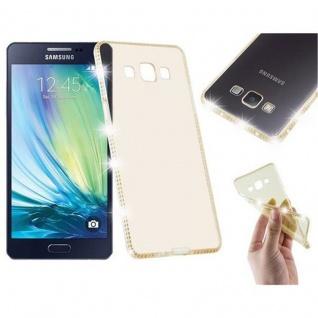 Cadorabo Hülle für Samsung Galaxy A5 - Hülle in TRANSPARENT GOLD ? Handyhülle aus TPU Silikon im Strass Design - Silikonhülle Schutzhülle Ultra Slim Soft Back Cover Case Bumper
