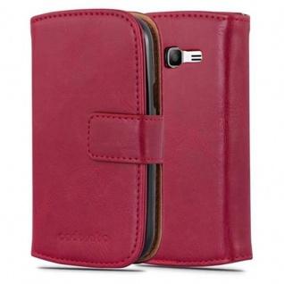 Cadorabo Hülle für Samsung Galaxy TREND LITE in WEIN ROT - Handyhülle mit Magnetverschluss, Standfunktion und Kartenfach - Case Cover Schutzhülle Etui Tasche Book Klapp Style