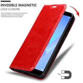Cadorabo Hülle für Huawei Y6 PRIME in APFEL ROT Handyhülle mit Magnetverschluss, Standfunktion und Kartenfach Case Cover Schutzhülle Etui Tasche Book Klapp Style - Vorschau 3