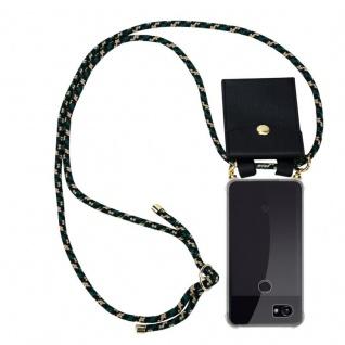 Cadorabo Handy Kette für Google Pixel 2 in CAMOUFLAGE Silikon Necklace Umhänge Hülle mit Gold Ringen, Kordel Band Schnur und abnehmbarem Etui Schutzhülle