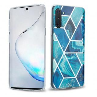 Cadorabo Hülle für Samsung Galaxy NOTE 10 Hülle in Blaue Welle Marmor No.13 Handyhülle aus TPU Silikon mit Muster Mosaik Silikonhülle Schutzhülle Ultra Slim Back Cover Case Bumper