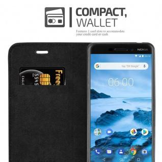 Cadorabo Hülle für Nokia 6.1 2018 in NACHT SCHWARZ - Handyhülle mit Magnetverschluss, Standfunktion und Kartenfach - Case Cover Schutzhülle Etui Tasche Book Klapp Style - Vorschau 4