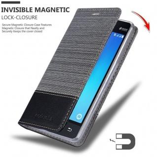 Cadorabo Hülle für Samsung Galaxy J1 MINI 2016 in GRAU SCHWARZ - Handyhülle mit Magnetverschluss, Standfunktion und Kartenfach - Case Cover Schutzhülle Etui Tasche Book Klapp Style - Vorschau 3