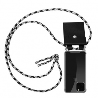 Cadorabo Handy Kette für Apple iPhone 11 (XI) in SCHWARZ CAMOUFLAGE - Silikon Necklace Umhänge Hülle mit Silber Ringen, Kordel Band Schnur und abnehmbarem Etui - Schutzhülle