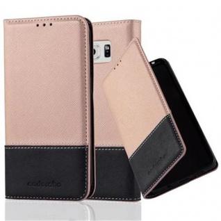 Cadorabo Hülle für Samsung Galaxy S6 EDGE in ROSÉ GOLD SCHWARZ ? Handyhülle mit Magnetverschluss, Standfunktion und Kartenfach ? Case Cover Schutzhülle Etui Tasche Book Klapp Style