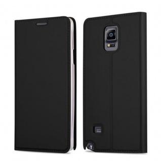 Cadorabo Hülle für Samsung Galaxy NOTE 4 in CLASSY SCHWARZ - Handyhülle mit Magnetverschluss, Standfunktion und Kartenfach - Case Cover Schutzhülle Etui Tasche Book Klapp Style