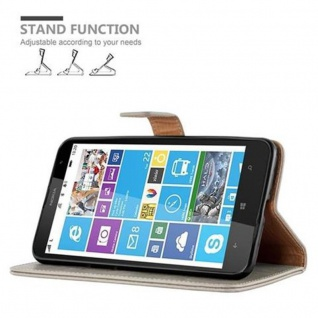 Cadorabo Hülle für Nokia Lumia 1320 in CAPPUCCINO BRAUN ? Handyhülle mit Magnetverschluss, Standfunktion und Kartenfach ? Case Cover Schutzhülle Etui Tasche Book Klapp Style - Vorschau 5