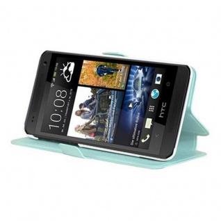 Cadorabo Hülle für HTC ONE MINI M4 (1.Gen.) - Hülle in ICY BLAU - Handyhülle mit Standfunktion und Kartenfach im Ultra Slim Design - Case Cover Schutzhülle Etui Tasche Book
