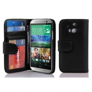 Cadorabo Hülle für HTC ONE M8 (2. Gen.) in OXID SCHWARZ ? Handyhülle mit Magnetverschluss und 3 Kartenfächern ? Case Cover Schutzhülle Etui Tasche Book Klapp Style