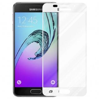 Cadorabo Vollbild Panzer Folie für Samsung Galaxy A7 2016 - Schutzfolie in TRANSPARENT mit WEISS - Gehärtetes (Tempered) Display-Schutzglas in 9H Härte mit 3D Touch Kompatibilität - Vorschau 2