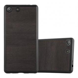 Cadorabo Hülle für Sony Xperia M5 in WOODEN SCHWARZ ? Handyhülle aus flexiblem TPU Silikon ? Silikonhülle Schutzhülle Ultra Slim Soft Back Cover Case Bumper