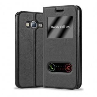 Cadorabo Hülle für Samsung Galaxy J3 / J3 DUOS 2016 in KOMETEN SCHWARZ ? Handyhülle mit Magnetverschluss, Standfunktion und 2 Sichtfenstern ? Case Cover Schutzhülle Etui Tasche Book Klapp Style