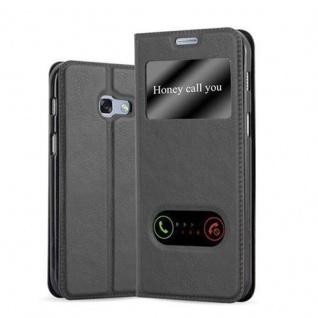 Cadorabo Hülle für Samsung Galaxy A3 2017 in KOMETEN SCHWARZ - Handyhülle mit Magnetverschluss, Standfunktion und 2 Sichtfenstern - Case Cover Schutzhülle Etui Tasche Book Klapp Style