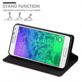 Cadorabo Hülle für Samsung Galaxy ALPHA in KAFFEE BRAUN - Handyhülle mit Magnetverschluss, Standfunktion und Kartenfach - Case Cover Schutzhülle Etui Tasche Book Klapp Style - Vorschau 5