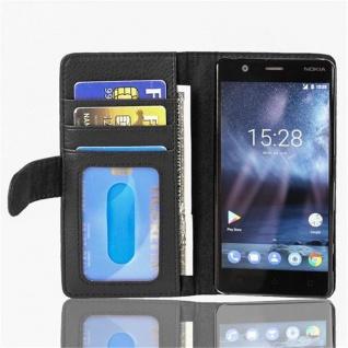 Cadorabo Hülle für Nokia 3 2017 in OXID SCHWARZ Handyhülle mit Magnetverschluss und 3 Kartenfächern Case Cover Schutzhülle Etui Tasche Book Klapp Style