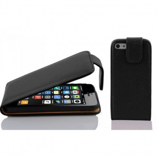 Cadorabo - Flip Style Hülle für Apple iPhone 5C - Case Cover Schutzhülle Etui Tasche in OXID-SCHWARZ