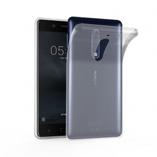 Cadorabo Hülle für Nokia 5 in VOLL TRANSPARENT - Handyhülle aus flexiblem TPU Silikon - Silikonhülle Schutzhülle Ultra Slim Soft Back Cover Case Bumper