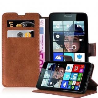 Cadorabo Hülle für Nokia Lumia 640 - Hülle in MATT BRAUN ? Handyhülle mit Standfunktion und Kartenfach im Retro Design - Case Cover Schutzhülle Etui Tasche Book Klapp Style